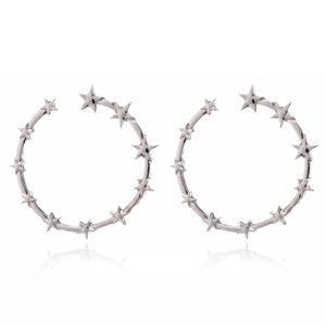 PREVIEW Silver Pentagram Star Hoop Earrings